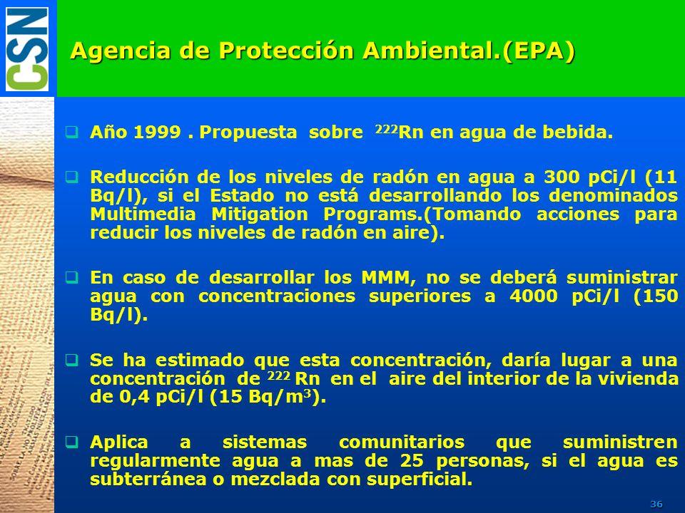 Año 1999. Propuesta sobre 222 Rn en agua de bebida. Reducción de los niveles de radón en agua a 300 pCi/l (11 Bq/l), si el Estado no está desarrolland