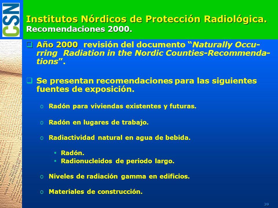 Institutos Nórdicos de Protección Radiológica. Recomendaciones 2000. Año 2000 Año 2000 revisión del documento Naturally Occu- rring Radiation in the N