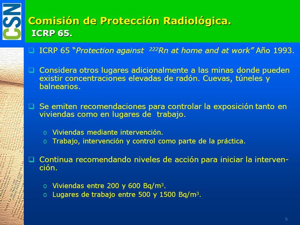 Comisión de Protección Radiológica. ICRP 65. ICRP 65 Protection against 222 Rn at home and at work Año 1993. Considera otros lugares adicionalmente a
