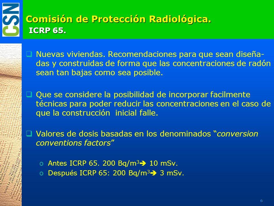 Comisión de Protección Radiológica. ICRP 65. Nuevas viviendas. Recomendaciones para que sean diseña- das y construidas de forma que las concentracione