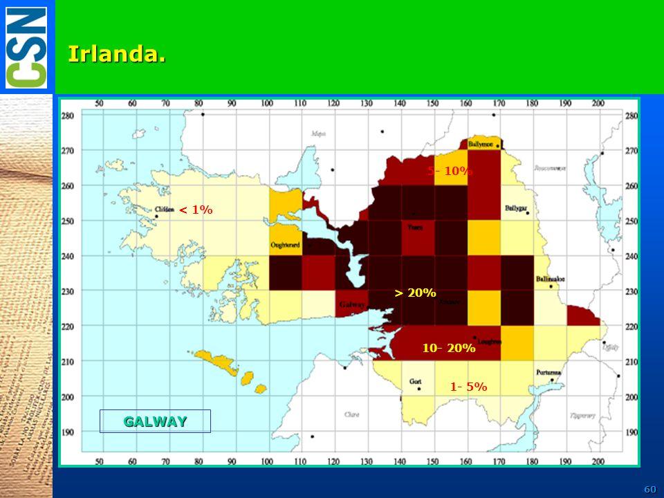 Irlanda. GALWAY < 1% 1- 5% 10- 20% > 20% 5- 10% 60