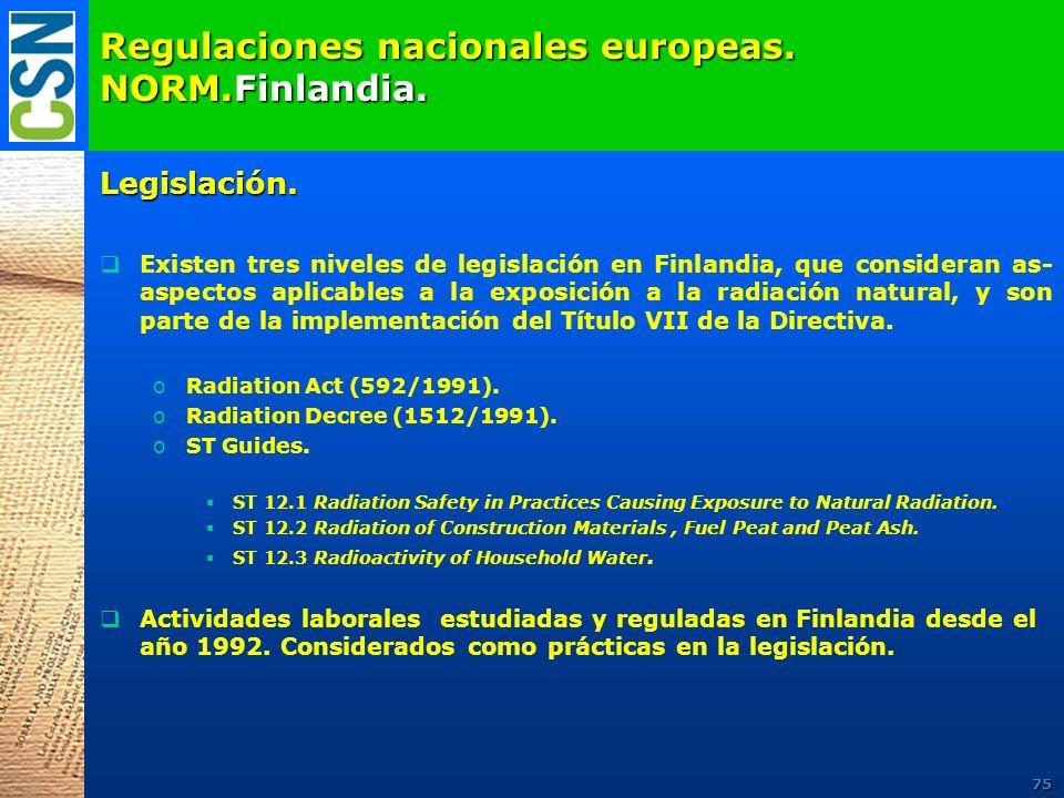 Regulaciones nacionales europeas. NORM.Finlandia. Legislación. Existen tres niveles de legislación en Finlandia, que consideran as- aspectos aplicable
