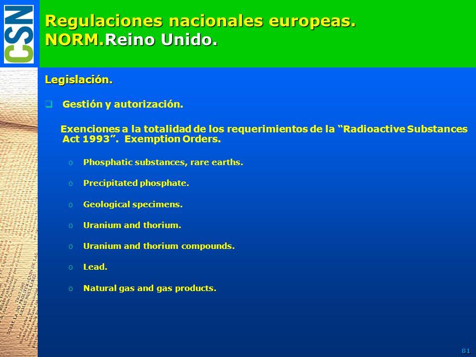 Regulaciones nacionales europeas. NORM.Reino Unido. Legislación. Gestión y autorización. Exenciones a la totalidad de los requerimientos de la Radioac