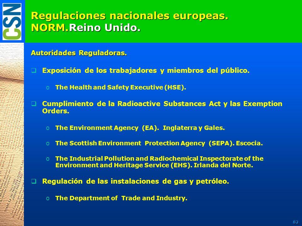 Regulaciones nacionales europeas. NORM.Reino Unido. Autoridades Reguladoras. Exposición de los trabajadores y miembros del público. oThe Health and Sa