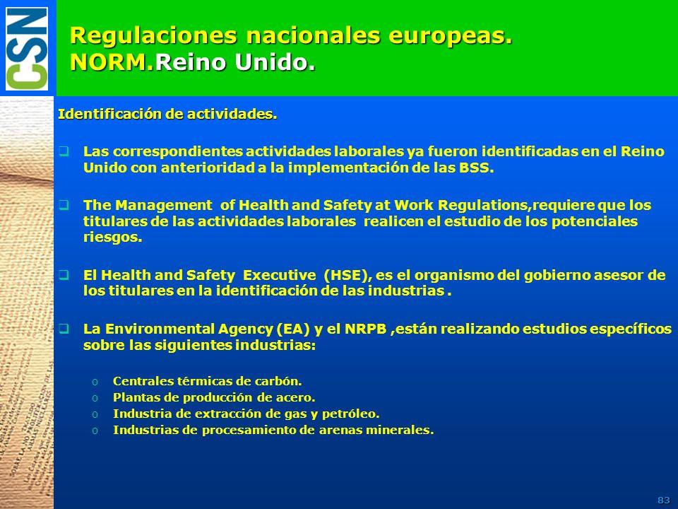 Regulaciones nacionales europeas. NORM.Reino Unido. Identificación de actividades. Las correspondientes actividades laborales ya fueron identificadas