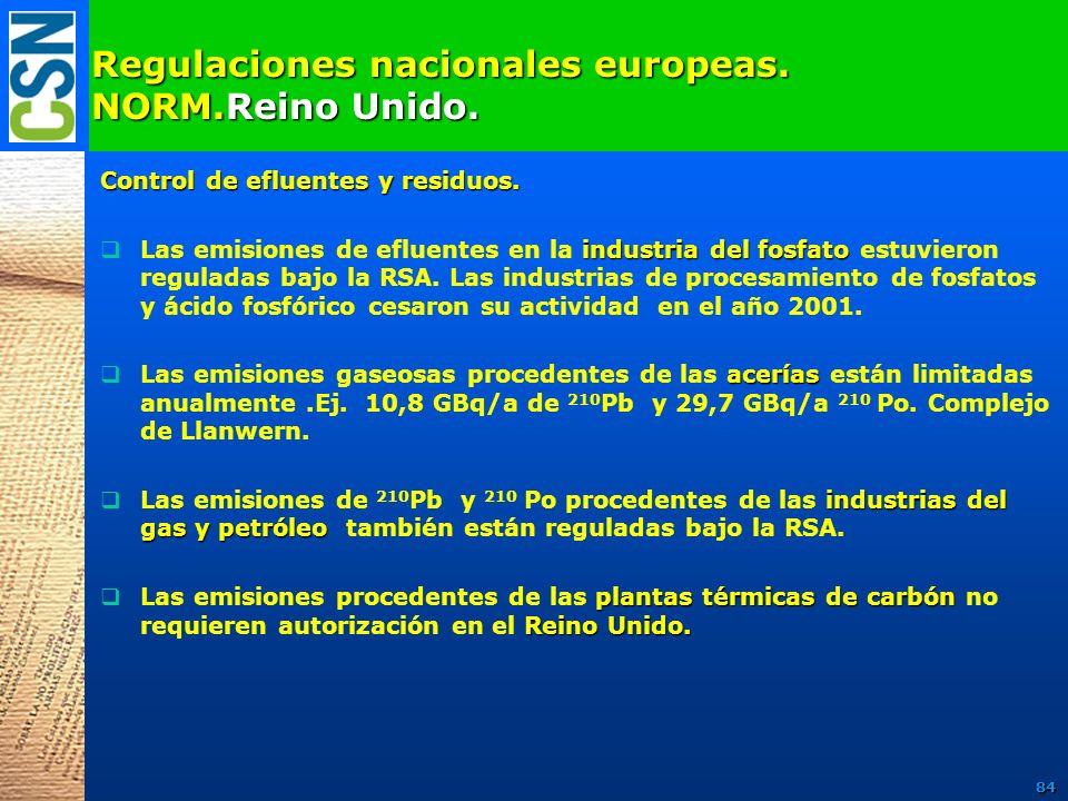 Regulaciones nacionales europeas. NORM.Reino Unido. Control de efluentes y residuos. industria del fosfato Las emisiones de efluentes en la industria