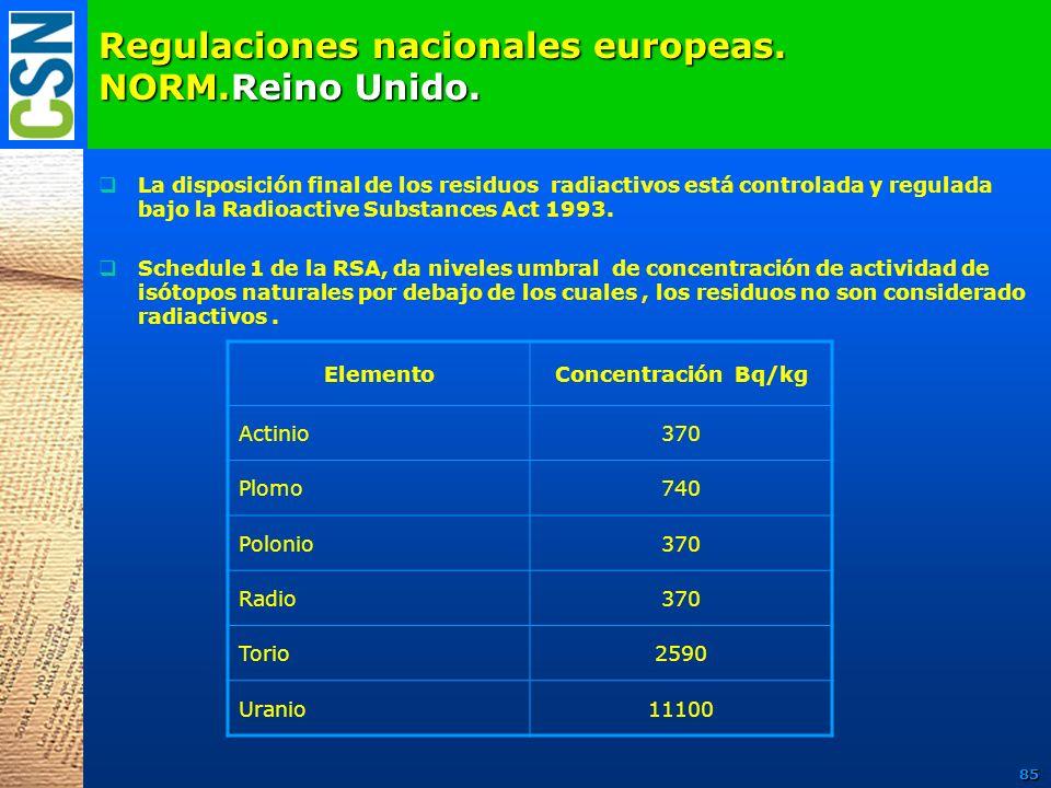 Regulaciones nacionales europeas. NORM.Reino Unido. La disposición final de los residuos radiactivos está controlada y regulada bajo la Radioactive Su