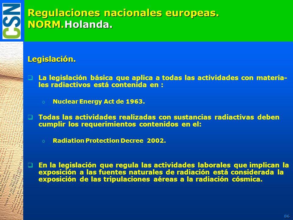 Regulaciones nacionales europeas. NORM.Holanda. Legislación. La legislación básica que aplica a todas las actividades con materia- les radiactivos est
