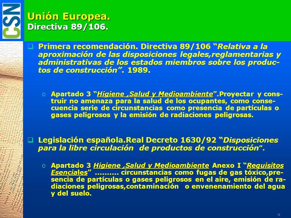 Unión Europea. Directiva 89/106. Primera recomendación. Directiva 89/106 Relativa a la aproximación de las disposiciones legales,reglamentarias y admi