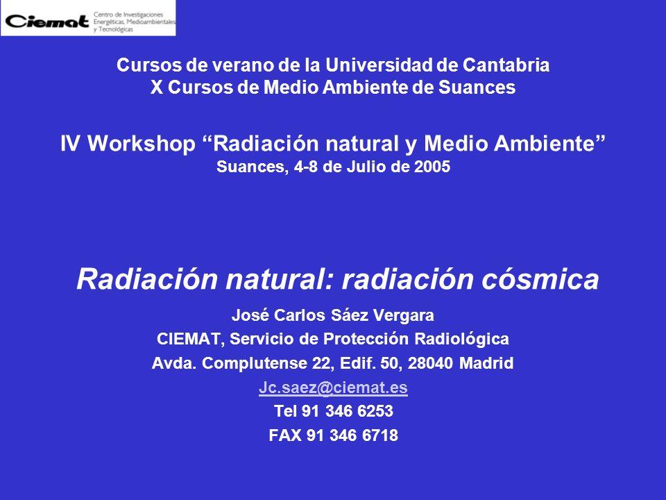 Cursos de verano de la Universidad de Cantabria X Cursos de Medio Ambiente de Suances IV Workshop Radiación natural y Medio Ambiente Suances, 4-8 de J