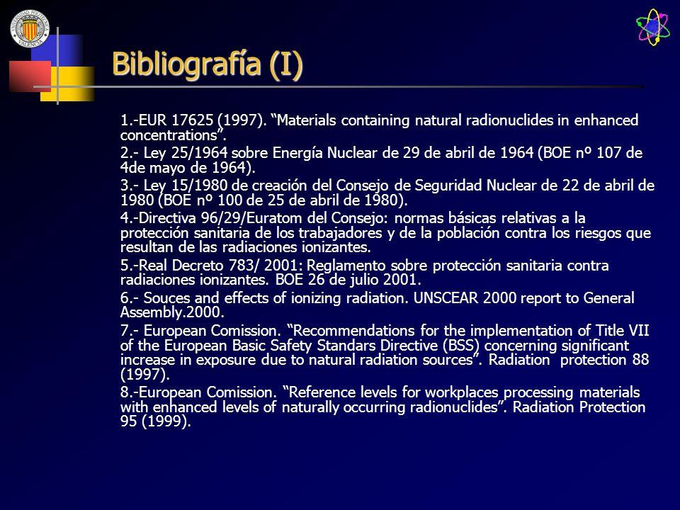 Bibliografía (I) 1.-EUR 17625 (1997). Materials containing natural radionuclides in enhanced concentrations. 2.- Ley 25/1964 sobre Energía Nuclear de