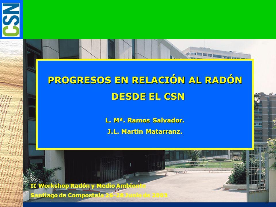 1 PROGRESOS EN RELACIÓN AL RADÓN DESDE EL CSN DESDE EL CSN L. Mª. Ramos Salvador. J.L. Martín Matarranz. II Workshop Radón y Medio Ambiente Santiago d