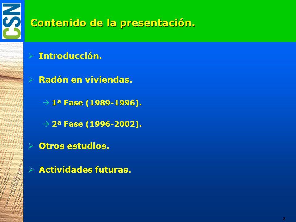 Contenido de la presentación. Introducción. Radón en viviendas. 1ª Fase (1989-1996). 2ª Fase (1996-2002). Otros estudios. Actividades futuras. 2