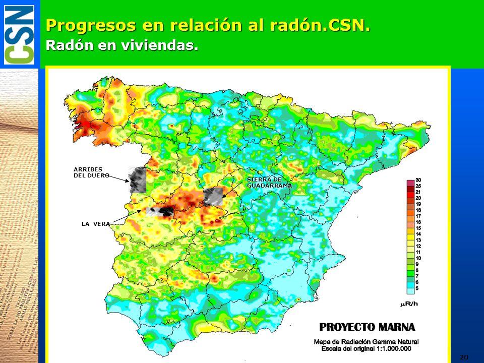 Progresos en relación al radón.CSN. Radón en viviendas. ARRIBES DEL DUERO LA VERA SIERRA DE GUADARRAMA 20