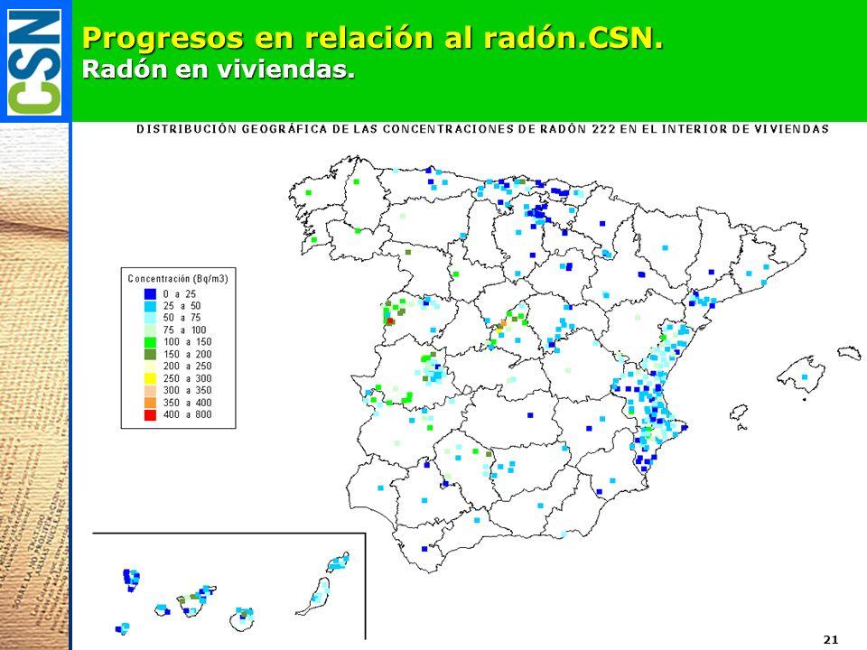 Progresos en relación al radón.CSN. Radón en viviendas. 21