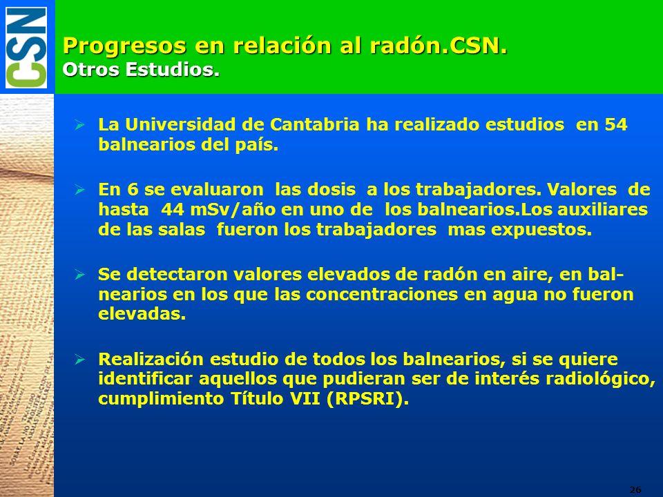 Progresos en relación al radón.CSN. Otros Estudios. La Universidad de Cantabria ha realizado estudios en 54 balnearios del país. En 6 se evaluaron las