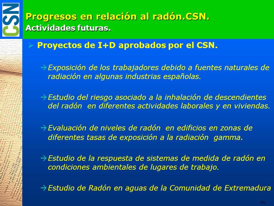 Progresos en relación al radón.CSN. Actividades futuras. Proyectos de I+D aprobados por el CSN. Exposición de los trabajadores debido a fuentes natura