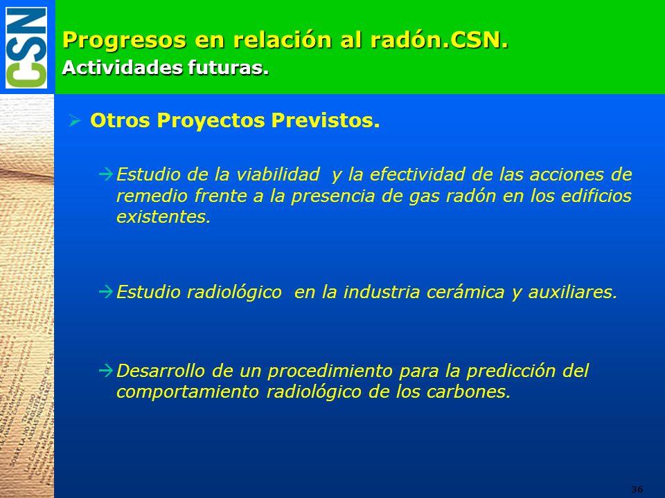 Progresos en relación al radón.CSN. Actividades futuras. Otros Proyectos Previstos. Estudio de la viabilidad y la efectividad de las acciones de remed
