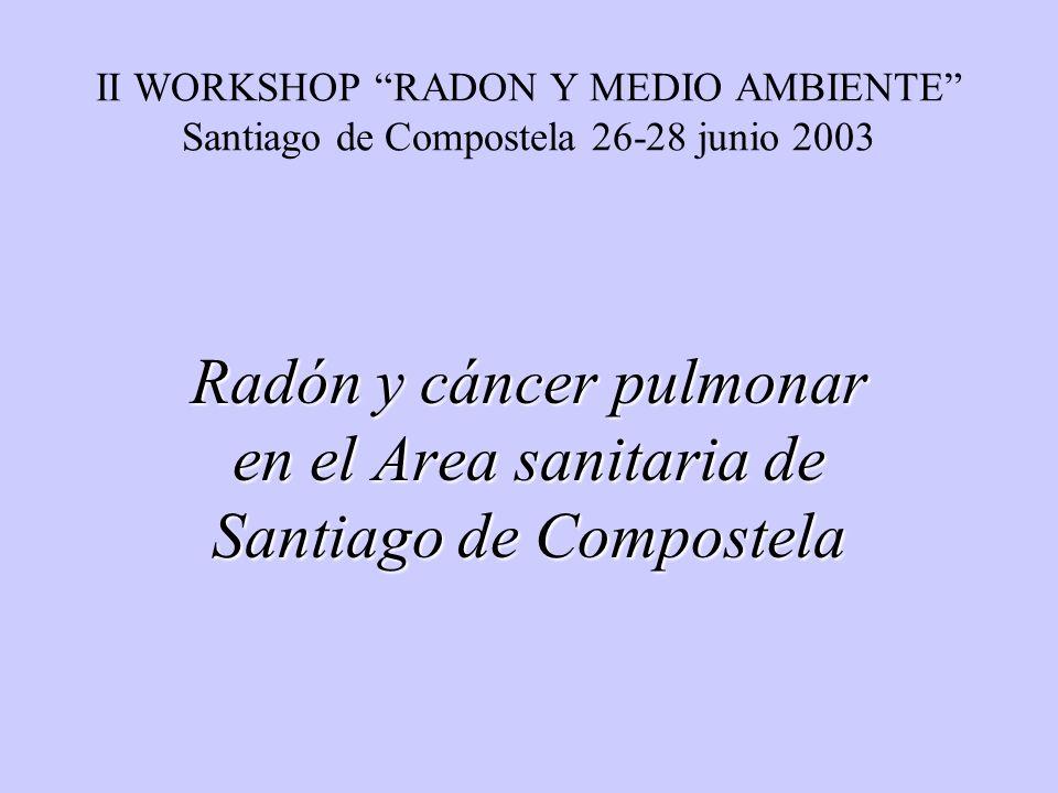 II WORKSHOP RADON Y MEDIO AMBIENTE Santiago de Compostela 26-28 junio 2003 Radón y cáncer pulmonar en el Area sanitaria de Santiago de Compostela