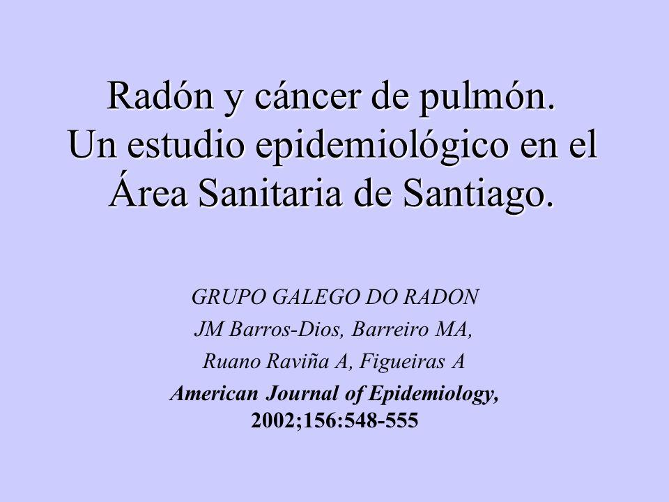 Radón y cáncer de pulmón. Un estudio epidemiológico en el Área Sanitaria de Santiago. GRUPO GALEGO DO RADON JM Barros-Dios, Barreiro MA, Ruano Raviña