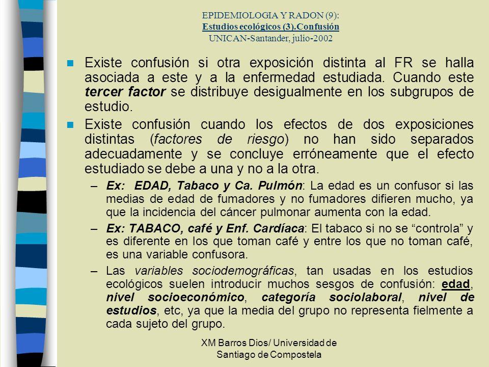 XM Barros Dios/ Universidad de Santiago de Compostela EPIDEMIOLOGIA Y RADON (9): Estudios ecológicos (3).Confusión UNICAN-Santander, julio-2002 Existe