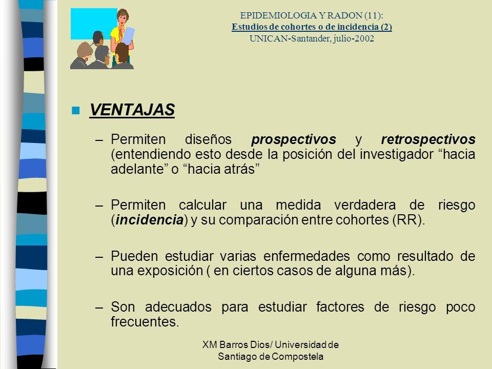 XM Barros Dios/ Universidad de Santiago de Compostela EPIDEMIOLOGIA Y RADON (11): Estudios de cohortes o de incidencia (2) UNICAN-Santander, julio-200