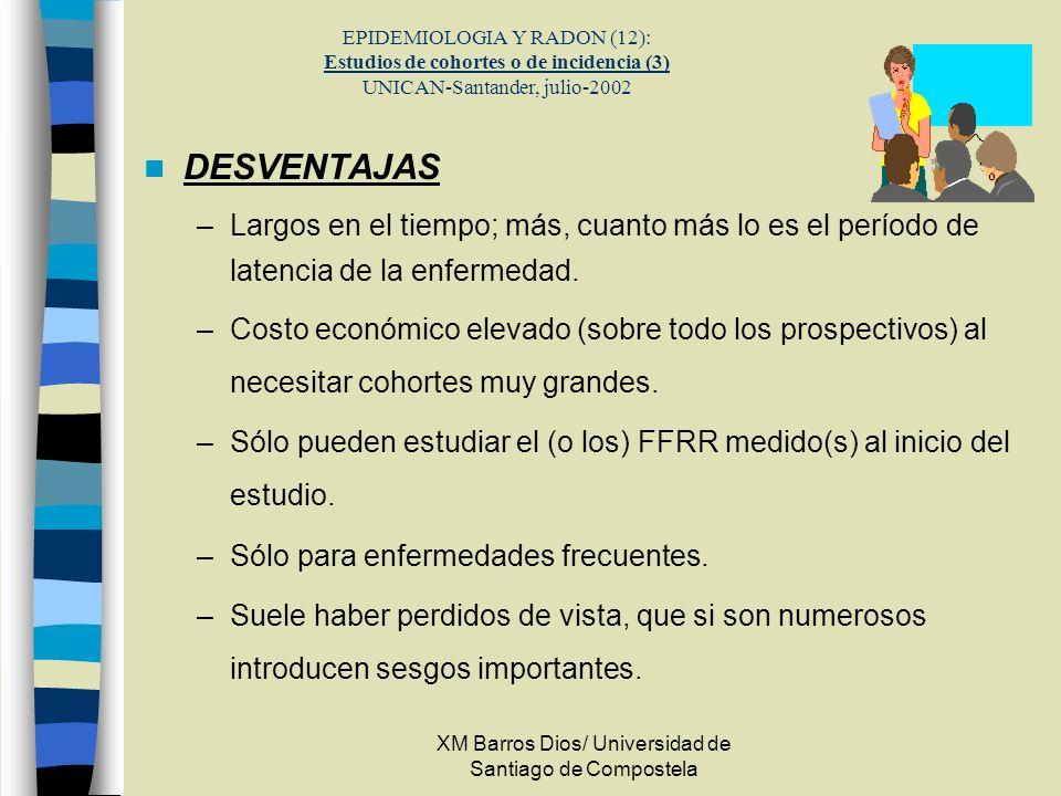 XM Barros Dios/ Universidad de Santiago de Compostela EPIDEMIOLOGIA Y RADON (12): Estudios de cohortes o de incidencia (3) UNICAN-Santander, julio-200