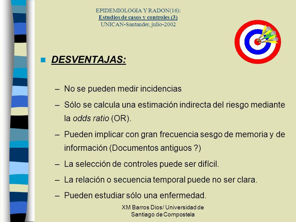 XM Barros Dios/ Universidad de Santiago de Compostela EPIDEMIOLOGIA Y RADON(16): Estudios de casos y controles (3) UNICAN-Santander, julio-2002 DESVEN