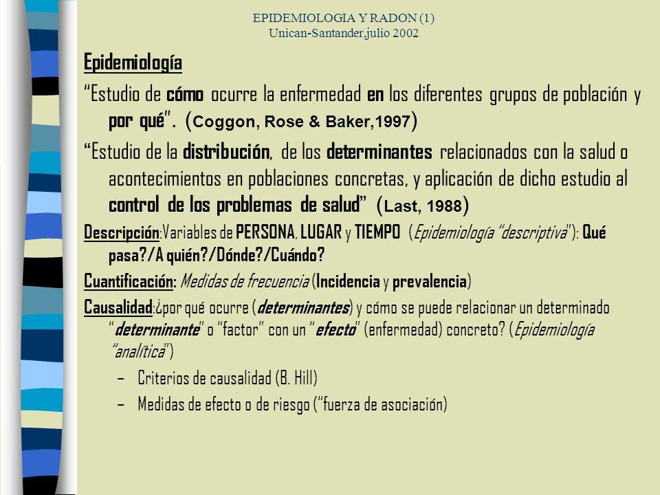 EPIDEMIOLOGIA Y RADON (1) Unican-Santander,julio 2002 Epidemiología Estudio de cómo ocurre la enfermedad en los diferentes grupos de población y por q