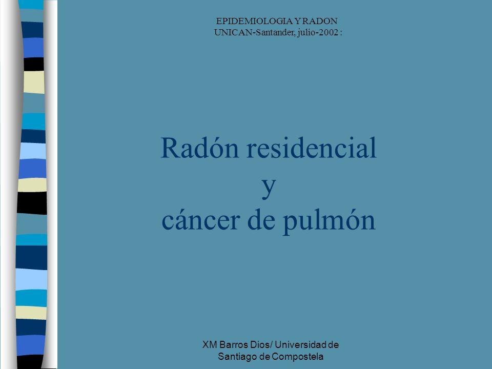 XM Barros Dios/ Universidad de Santiago de Compostela Radón residencial y cáncer de pulmón EPIDEMIOLOGIA Y RADON UNICAN-Santander, julio-2002 :
