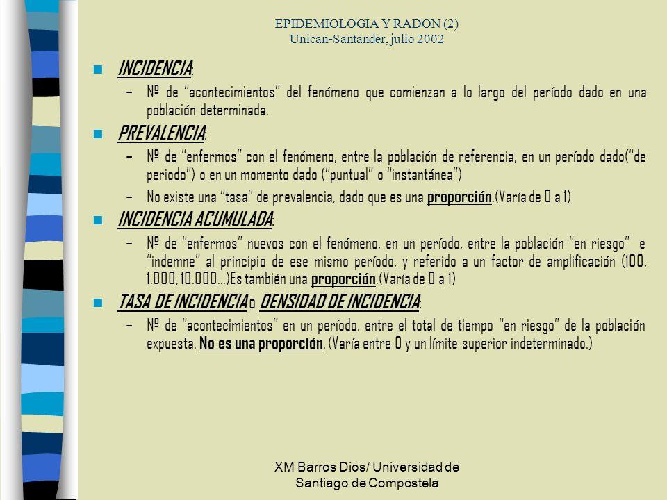 XM Barros Dios/ Universidad de Santiago de Compostela EPIDEMIOLOGIA Y RADON (2) Unican-Santander, julio 2002 INCIDENCIA : –Nº de acontecimientos del f