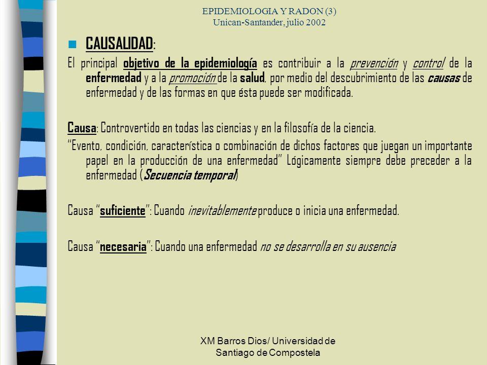 XM Barros Dios/ Universidad de Santiago de Compostela EPIDEMIOLOGIA Y RADON (3) Unican-Santander, julio 2002 CAUSALIDAD : El principal objetivo de la
