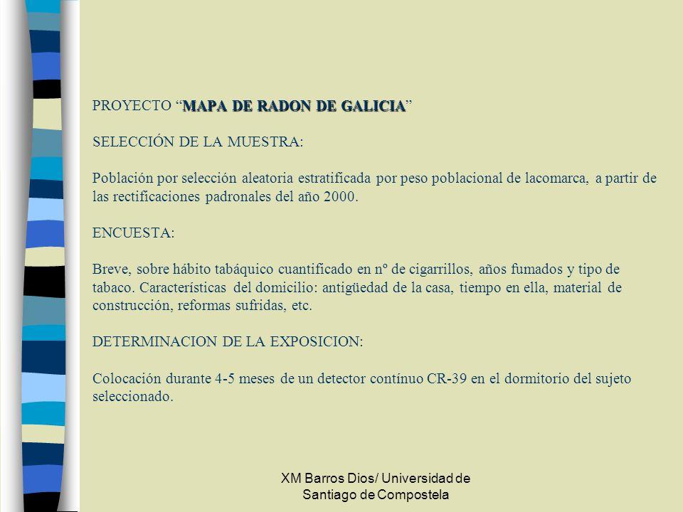 XM Barros Dios/ Universidad de Santiago de Compostela MAPA DE RADON DE GALICIA PROYECTO MAPA DE RADON DE GALICIA SELECCIÓN DE LA MUESTRA: Población po