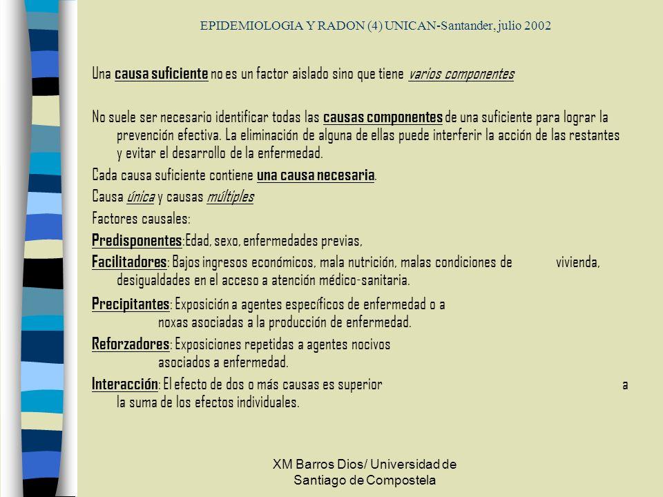 EPIDEMIOLOGIA Y RADON (4) UNICAN-Santander, julio 2002 Una causa suficiente no es un factor aislado sino que tiene varios componentes No suele ser nec