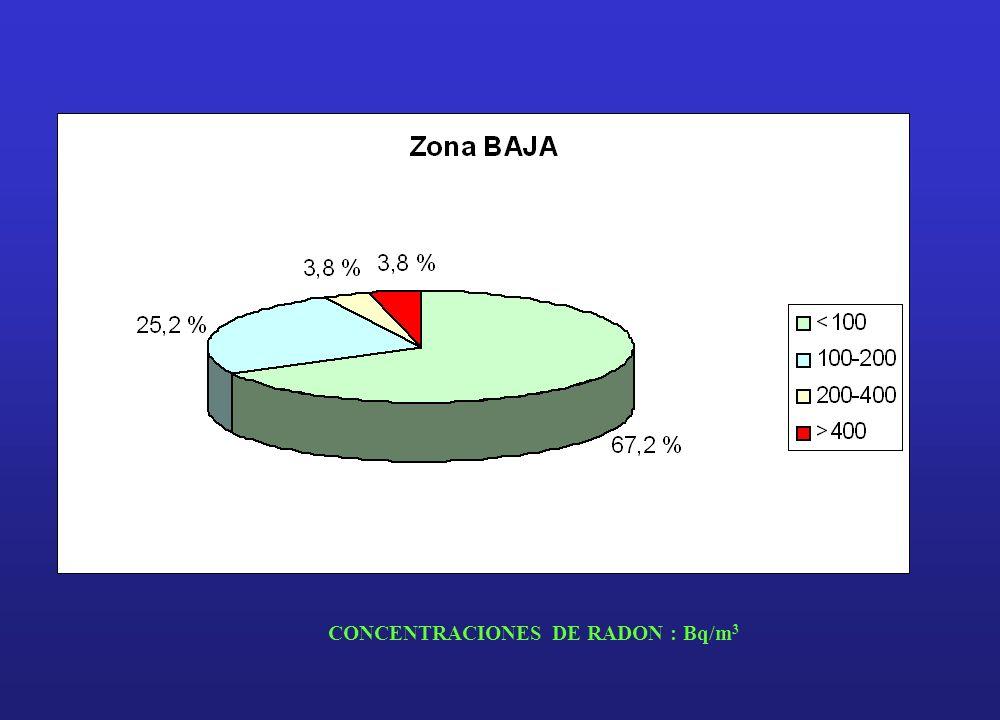 CONCENTRACIONES DE RADON : Bq/m 3