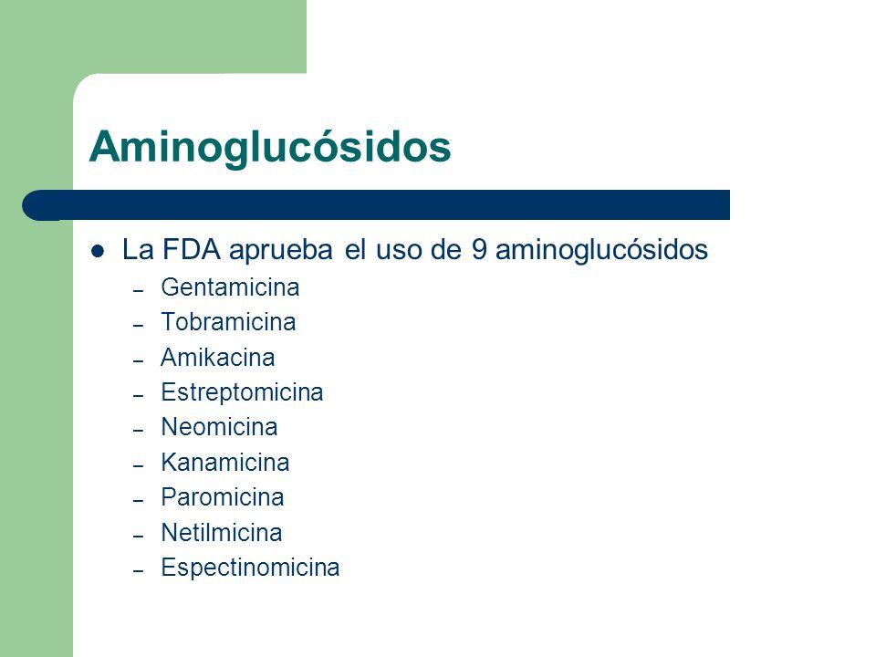 Aminoglucósidos La aplicación clínica más común es en infecciones serias causadas por Bacilos Gram (-) Algunos Staphilococcus y Enterococos Protozoarios N.