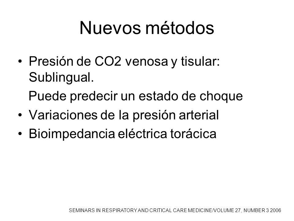 Nuevos métodos Presión de CO2 venosa y tisular: Sublingual. Puede predecir un estado de choque Variaciones de la presión arterial Bioimpedancia eléctr