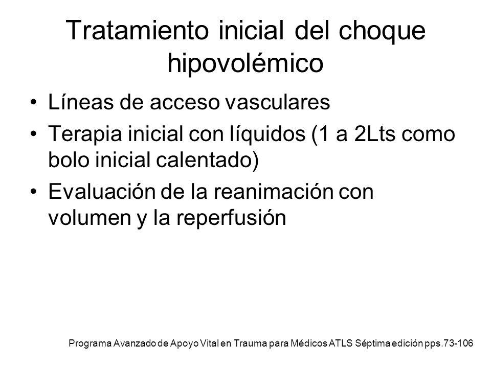 Tratamiento inicial del choque hipovolémico Líneas de acceso vasculares Terapia inicial con líquidos (1 a 2Lts como bolo inicial calentado) Evaluación