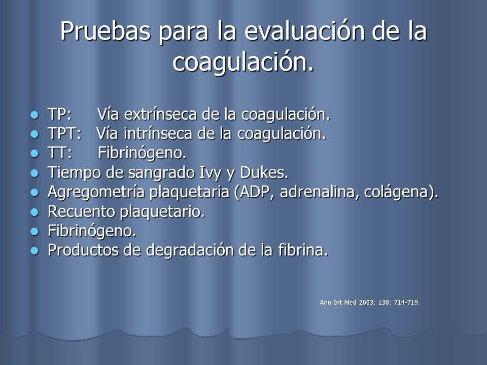 Pruebas para la evaluación de la coagulación. TP: Vía extrínseca de la coagulación. TP: Vía extrínseca de la coagulación. TPT: Vía intrínseca de la co