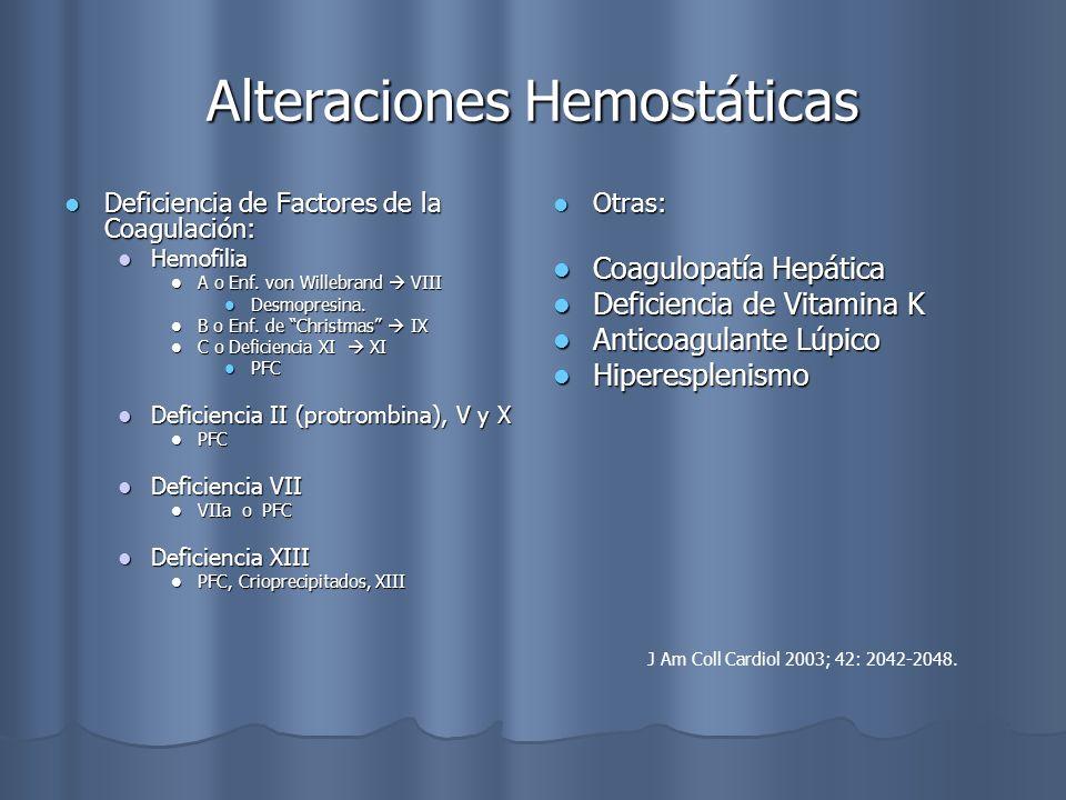 Alteraciones Hemostáticas Deficiencia de Factores de la Coagulación: Deficiencia de Factores de la Coagulación: Hemofilia Hemofilia A o Enf. von Wille