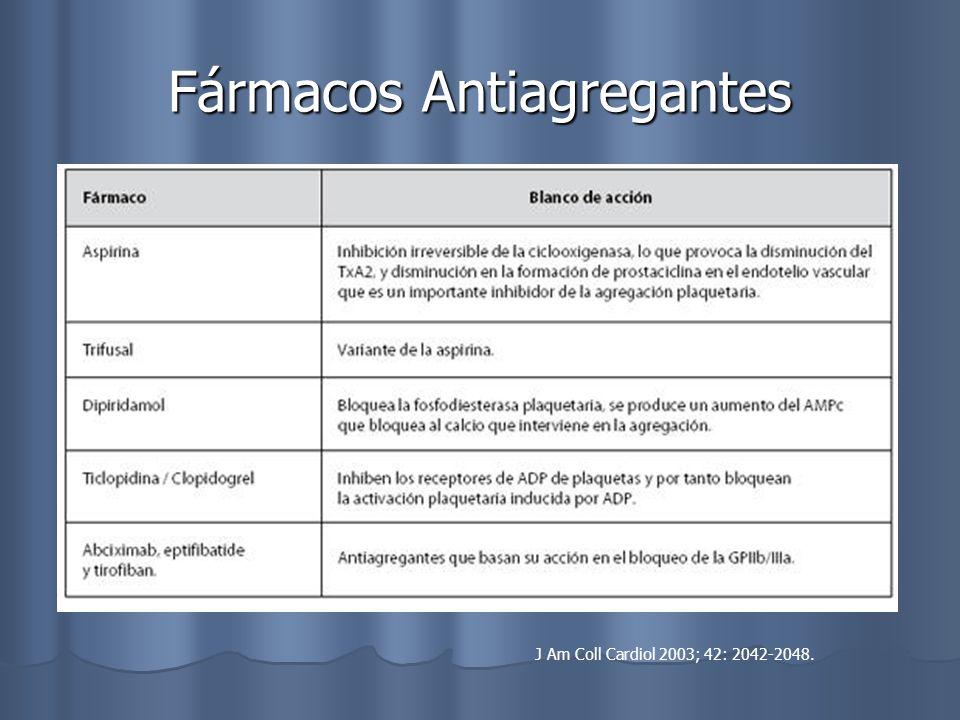 Fármacos Antiagregantes J Am Coll Cardiol 2003; 42: 2042-2048.
