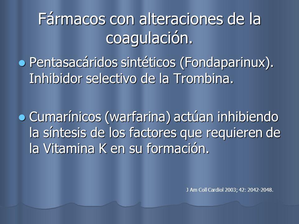 Fármacos con alteraciones de la coagulación. Pentasacáridos sintéticos (Fondaparinux). Inhibidor selectivo de la Trombina. Pentasacáridos sintéticos (