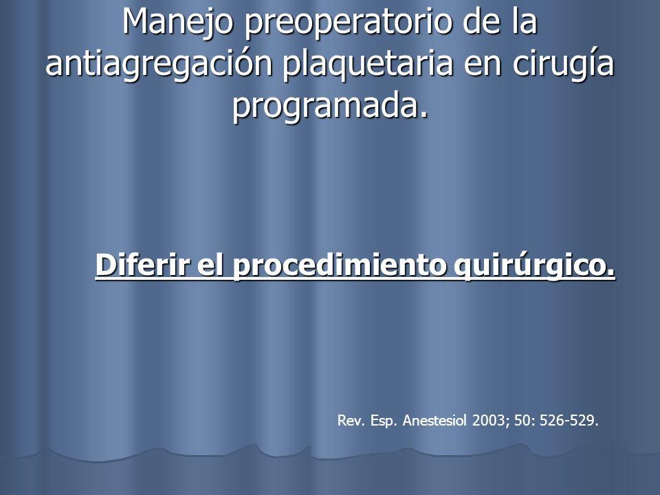 Manejo preoperatorio de la antiagregación plaquetaria en cirugía programada. Diferir el procedimiento quirúrgico. Diferir el procedimiento quirúrgico.