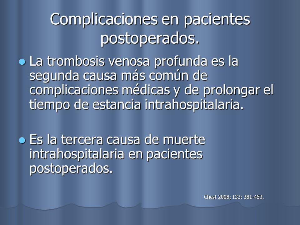 Complicaciones en pacientes postoperados. La trombosis venosa profunda es la segunda causa más común de complicaciones médicas y de prolongar el tiemp