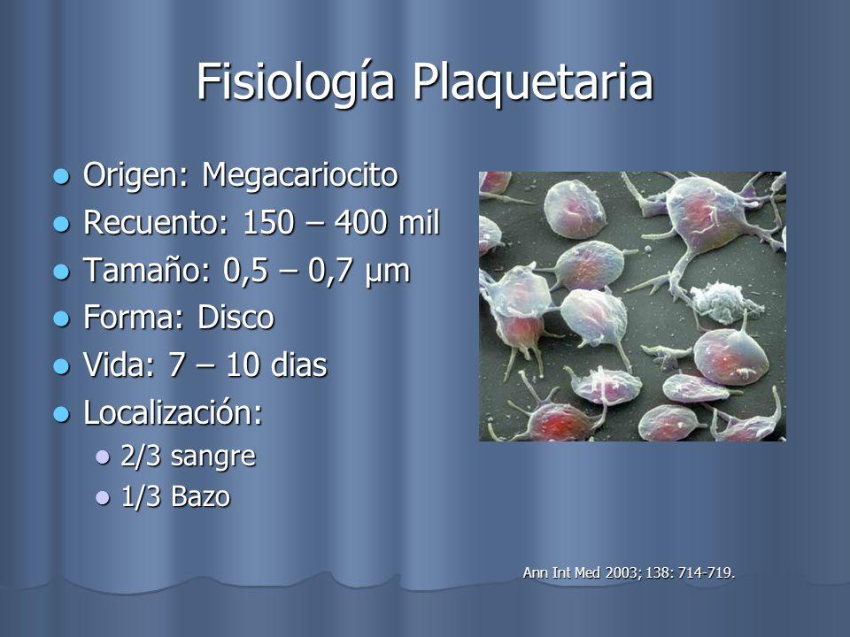 Fisiología Plaquetaria Origen: Megacariocito Origen: Megacariocito Recuento: 150 – 400 mil Recuento: 150 – 400 mil Tamaño: 0,5 – 0,7 μm Tamaño: 0,5 –