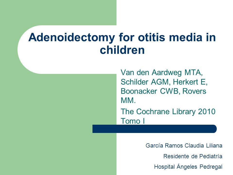 Antecedentes La Adenoidectomía es la cirugía más común en ONG en niños con Otitis media.