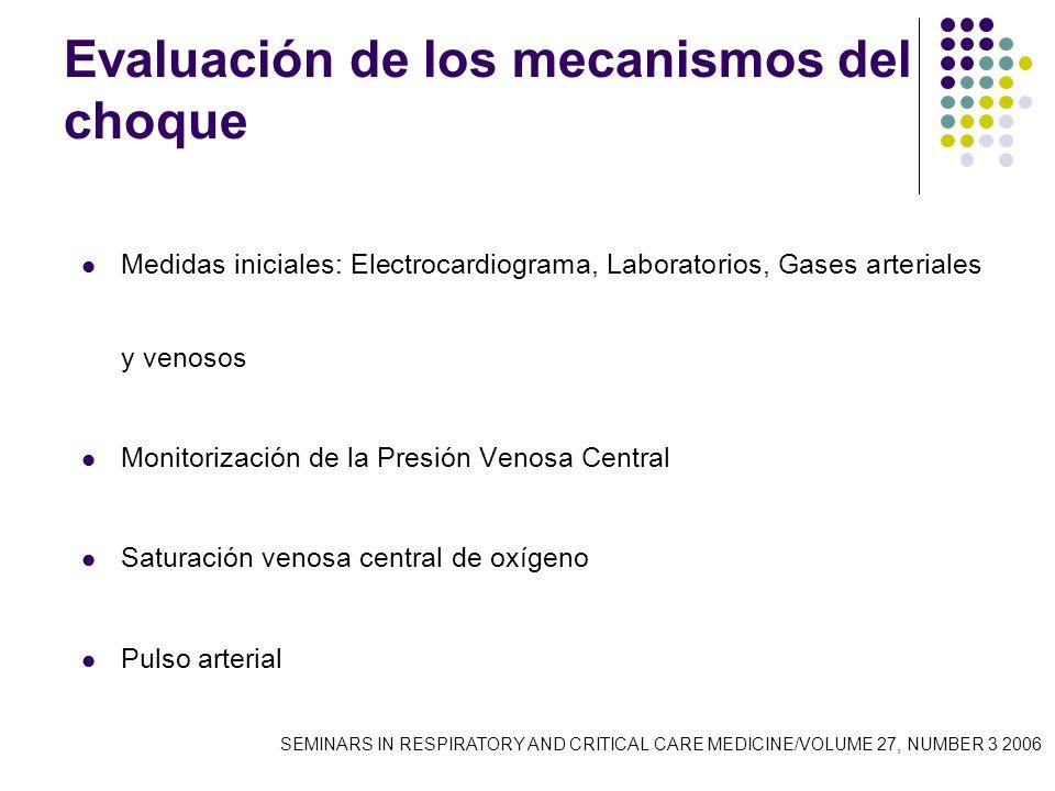 Evaluación de los mecanismos del choque Medidas iniciales: Electrocardiograma, Laboratorios, Gases arteriales y venosos Monitorización de la Presión V