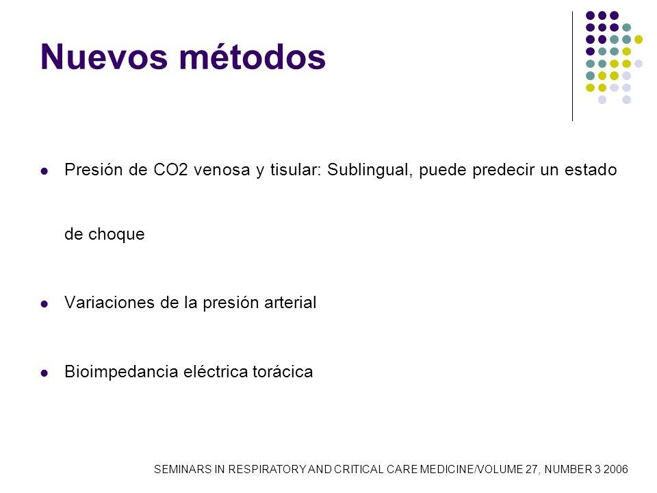Nuevos métodos Presión de CO2 venosa y tisular: Sublingual, puede predecir un estado de choque Variaciones de la presión arterial Bioimpedancia eléctr