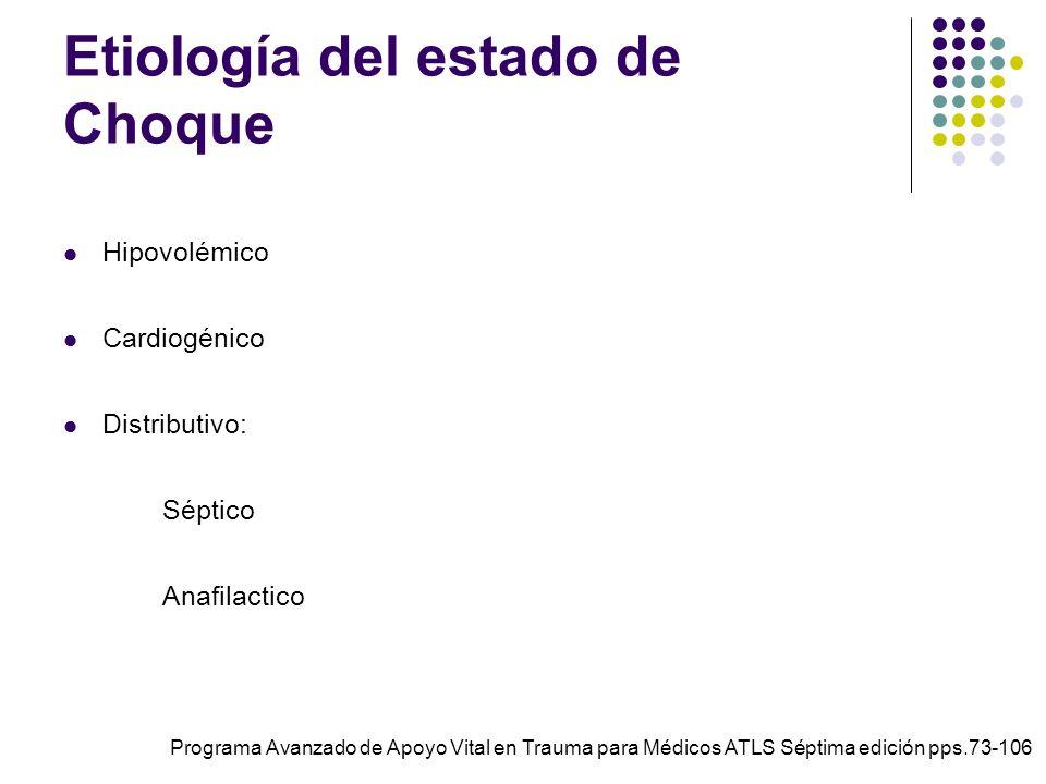 Etiología del estado de Choque Hipovolémico Cardiogénico Distributivo: Séptico Anafilactico Programa Avanzado de Apoyo Vital en Trauma para Médicos AT