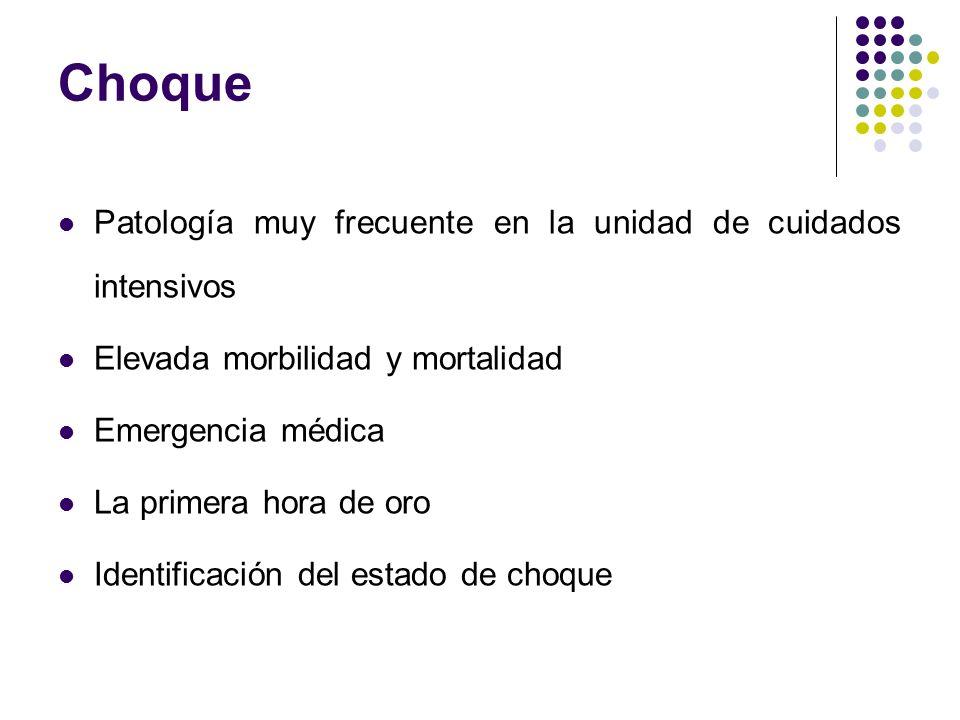 Choque Patología muy frecuente en la unidad de cuidados intensivos Elevada morbilidad y mortalidad Emergencia médica La primera hora de oro Identifica